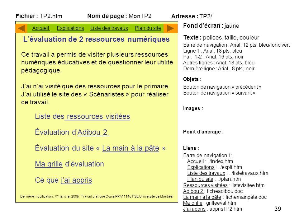 L'évaluation de 2 ressources numériques