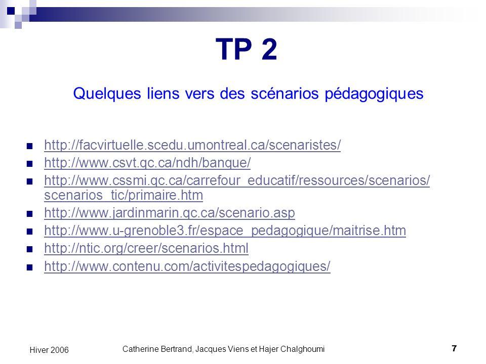 TP 2 Quelques liens vers des scénarios pédagogiques