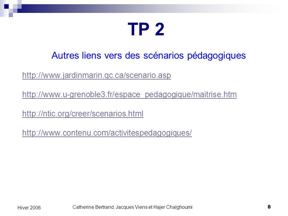 TP 2 Autres liens vers des scénarios pédagogiques
