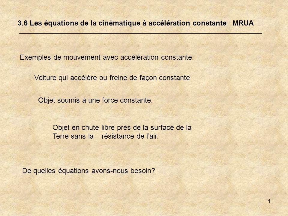 3.6 Les équations de la cinématique à accélération constante MRUA