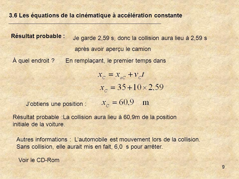 3.6 Les équations de la cinématique à accélération constante