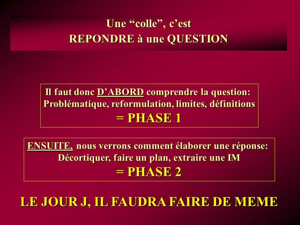 = PHASE 1 = PHASE 2 LE JOUR J, IL FAUDRA FAIRE DE MEME