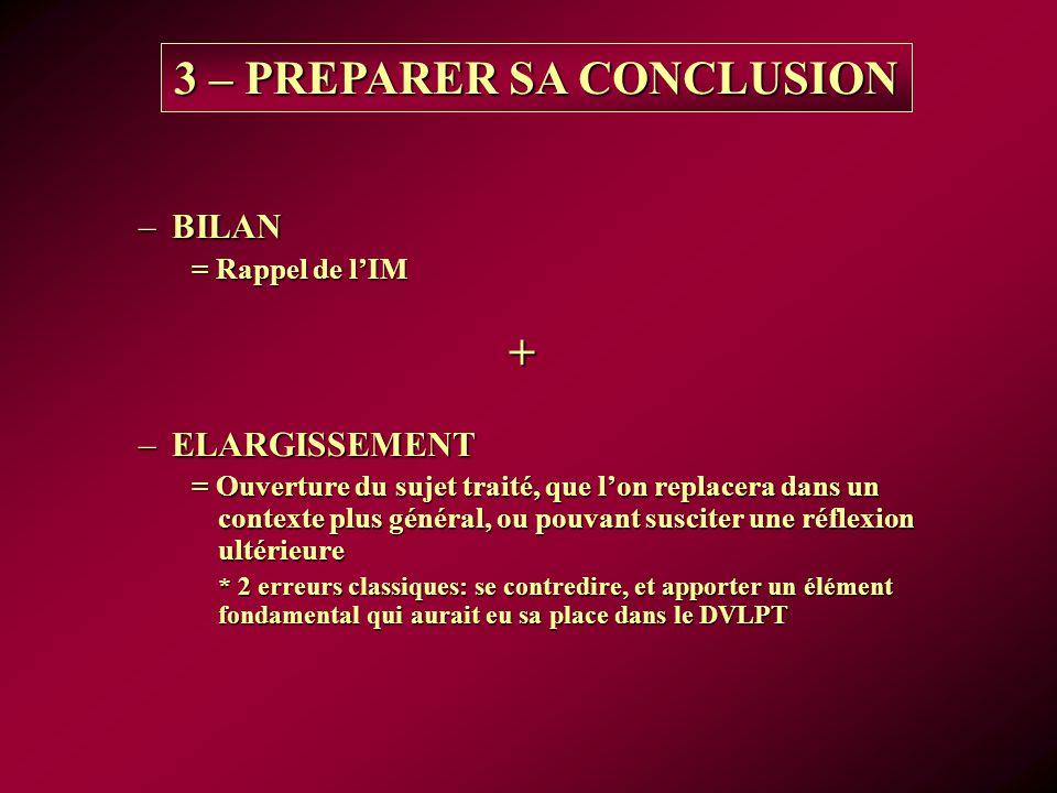3 – PREPARER SA CONCLUSION