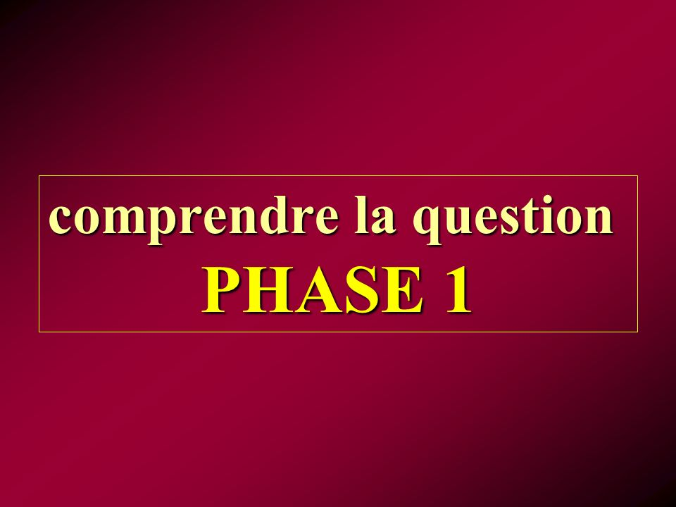 comprendre la question