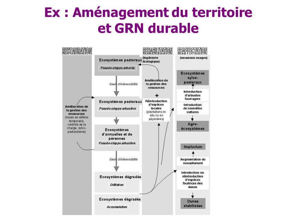 Ex : Aménagement du territoire et GRN durable