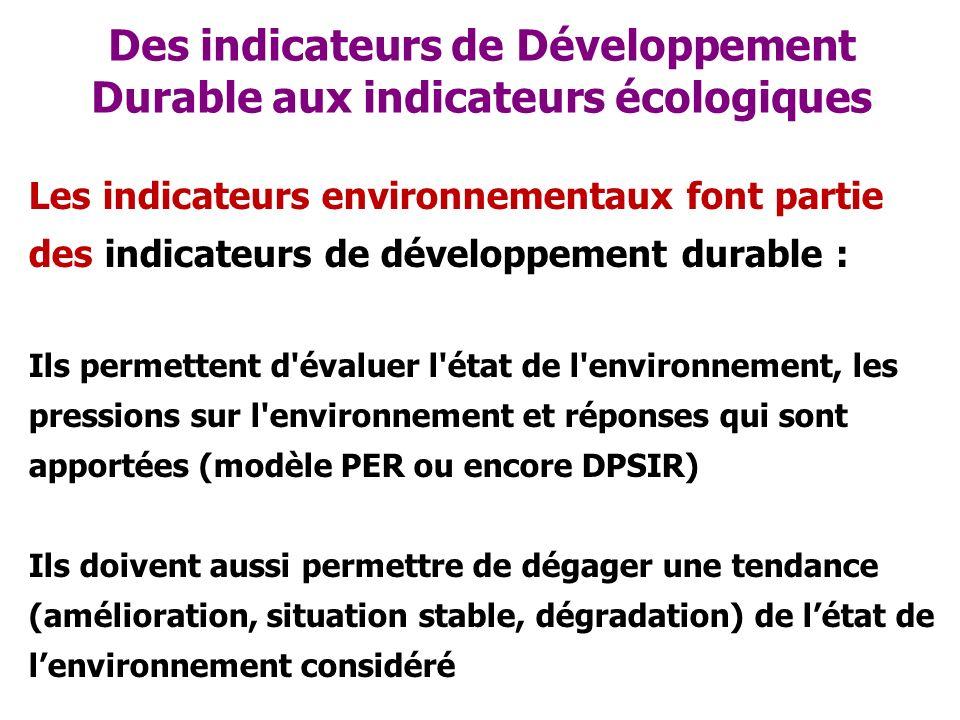 Des indicateurs de Développement Durable aux indicateurs écologiques