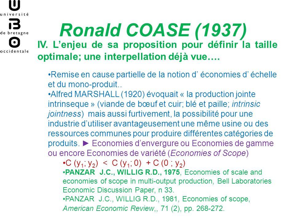 Ronald COASE (1937) IV. L'enjeu de sa proposition pour définir la taille optimale; une interpellation déjà vue….