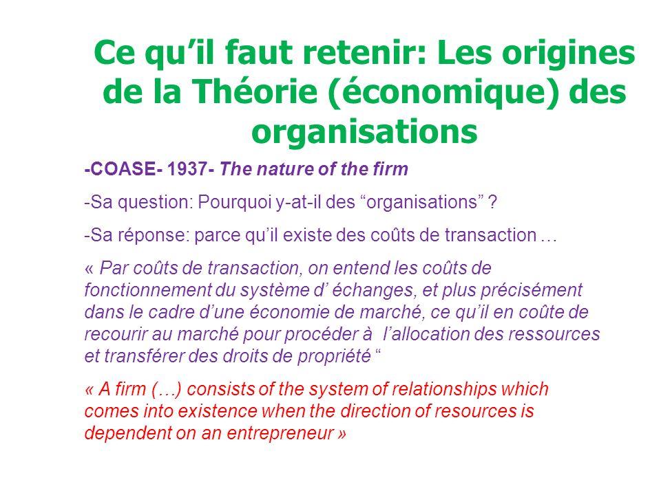 Ce qu'il faut retenir: Les origines de la Théorie (économique) des organisations