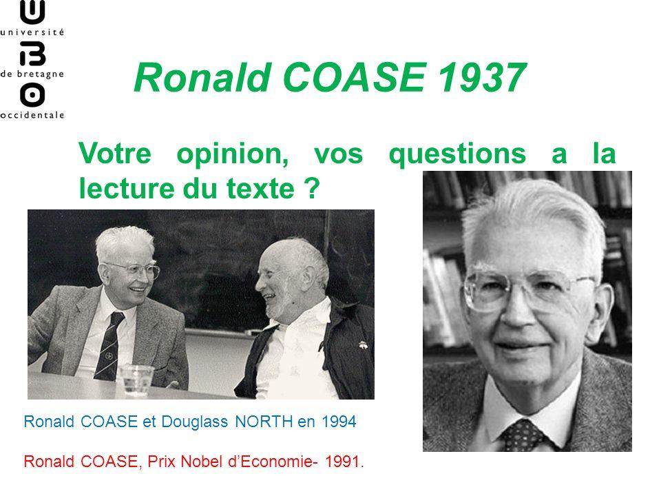 Ronald COASE 1937 Votre opinion, vos questions a la lecture du texte