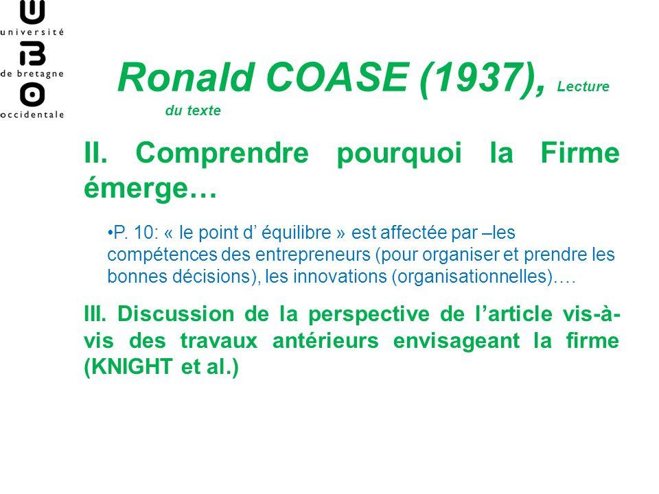 Ronald COASE (1937), Lecture du texte