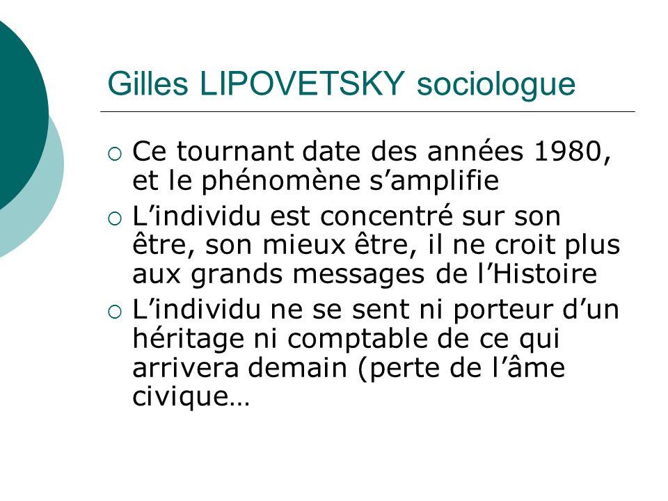 Gilles LIPOVETSKY sociologue