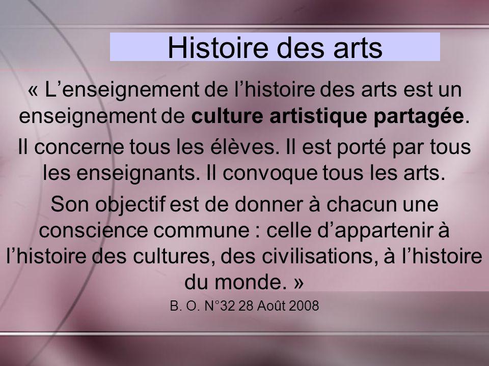 Histoire des arts « L'enseignement de l'histoire des arts est un enseignement de culture artistique partagée.
