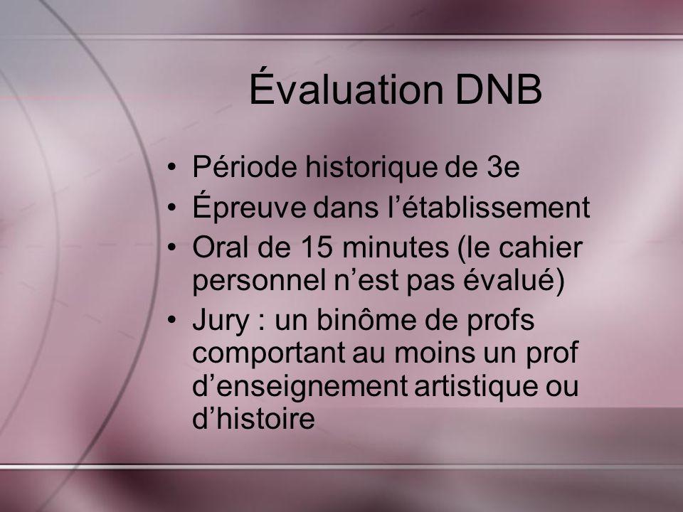 Évaluation DNB Période historique de 3e Épreuve dans l'établissement