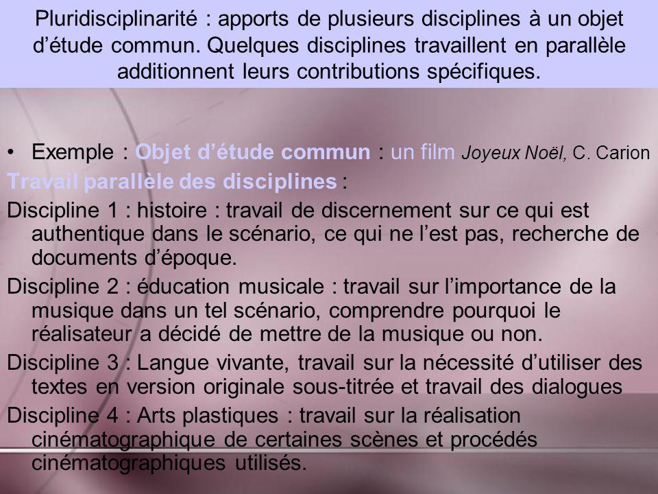Pluridisciplinarité : apports de plusieurs disciplines à un objet d'étude commun. Quelques disciplines travaillent en parallèle additionnent leurs contributions spécifiques.