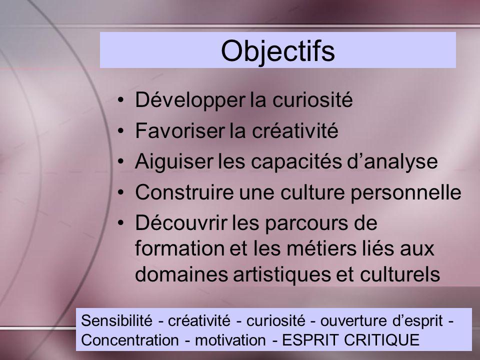 Objectifs Développer la curiosité Favoriser la créativité