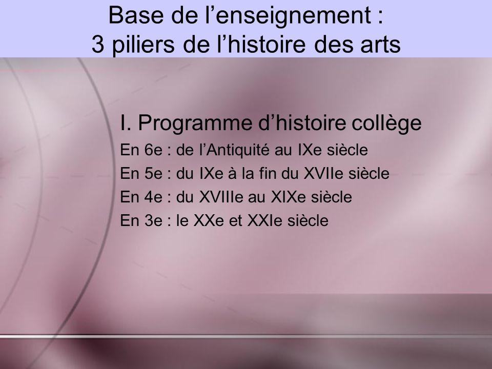 Base de l'enseignement : 3 piliers de l'histoire des arts