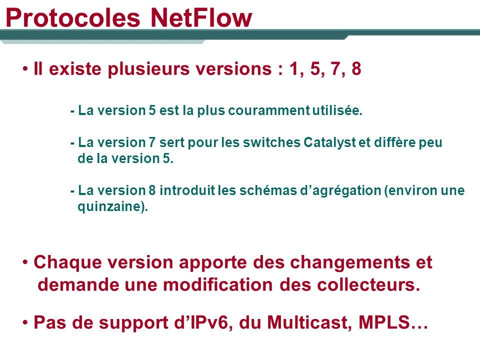 Protocoles NetFlow Il existe plusieurs versions : 1, 5, 7, 8