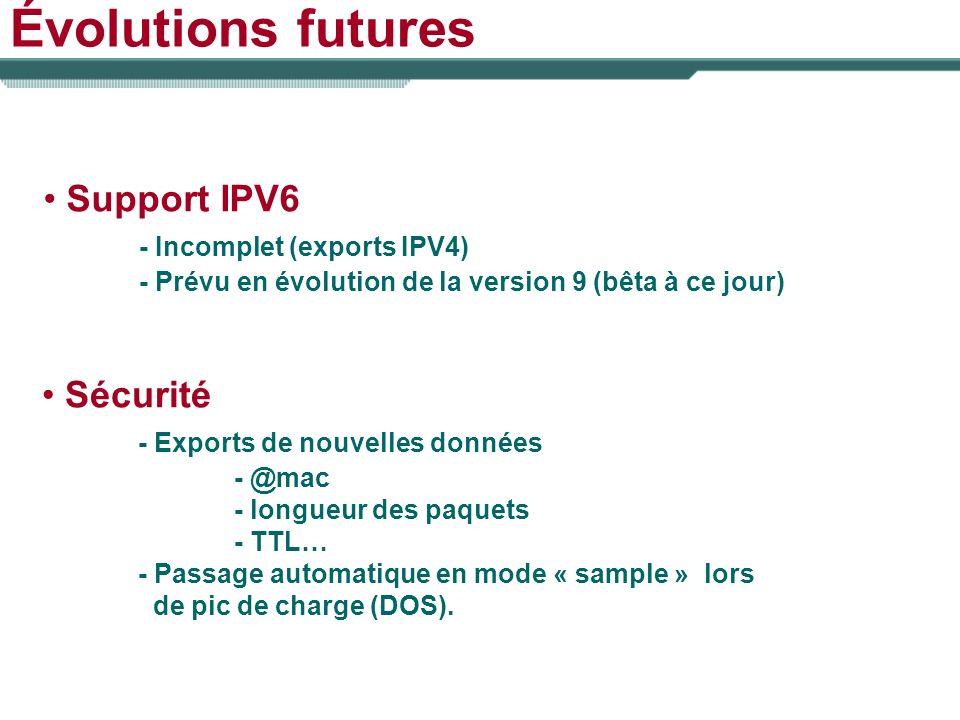 Évolutions futures Support IPV6 - Incomplet (exports IPV4) Sécurité