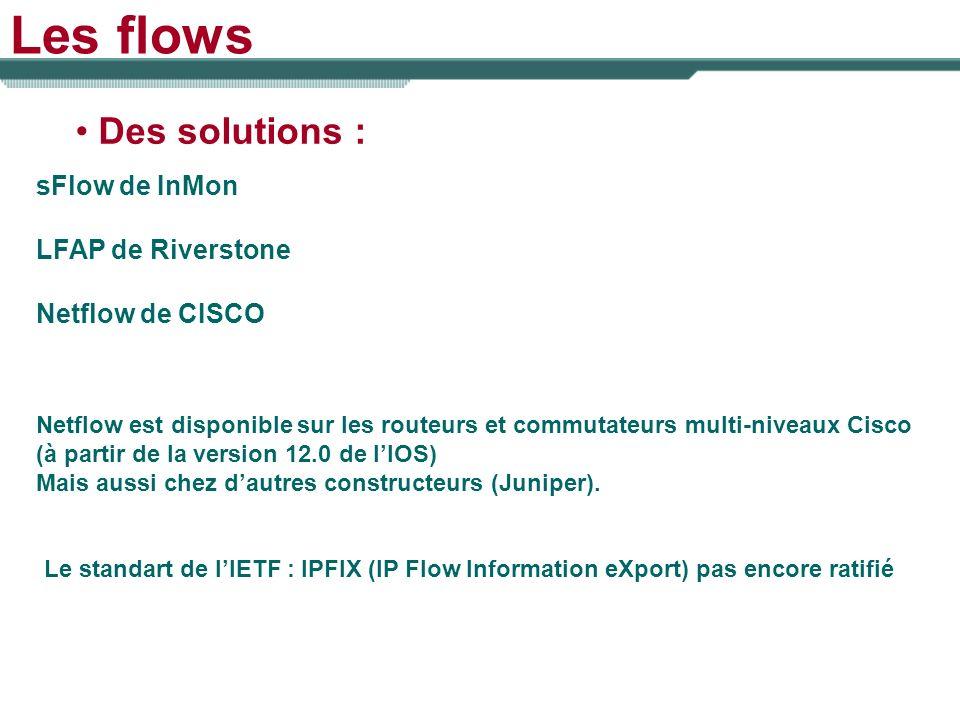 Les flows Des solutions : sFlow de InMon LFAP de Riverstone