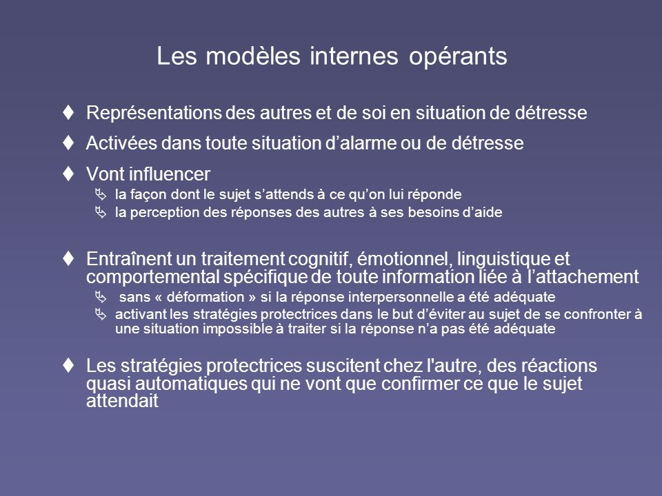 Les modèles internes opérants