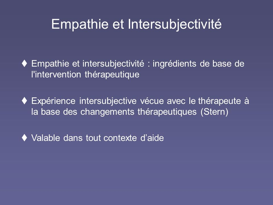 Empathie et Intersubjectivité