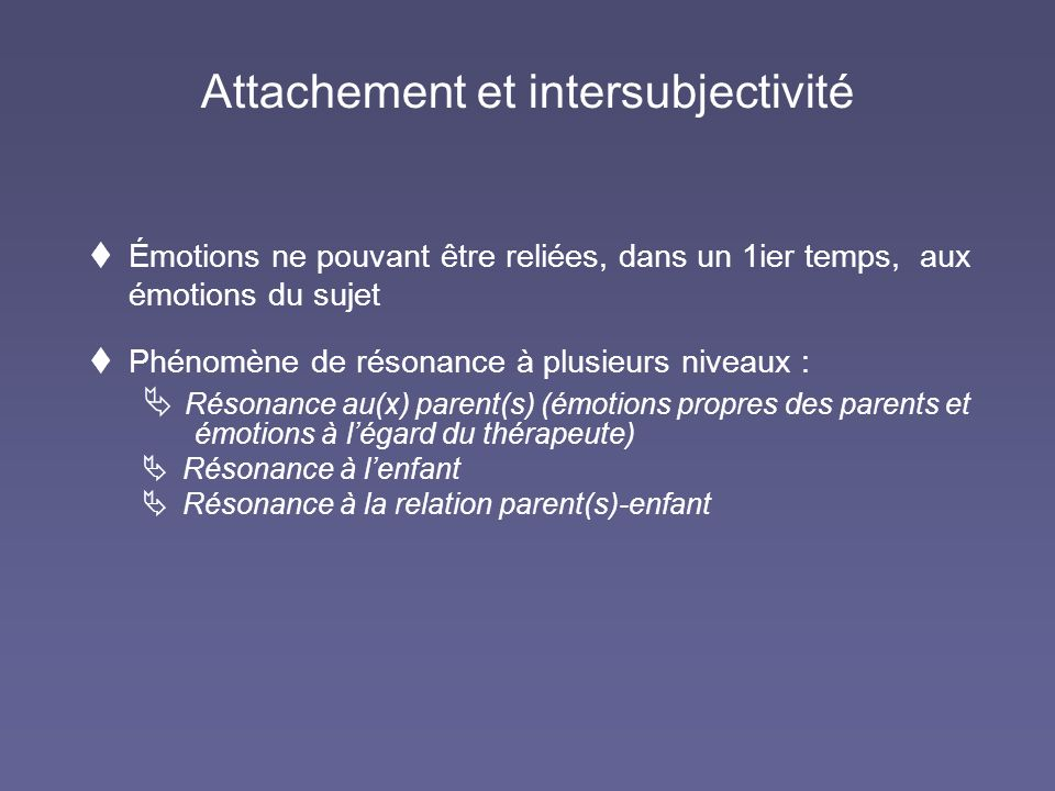 Attachement et intersubjectivité