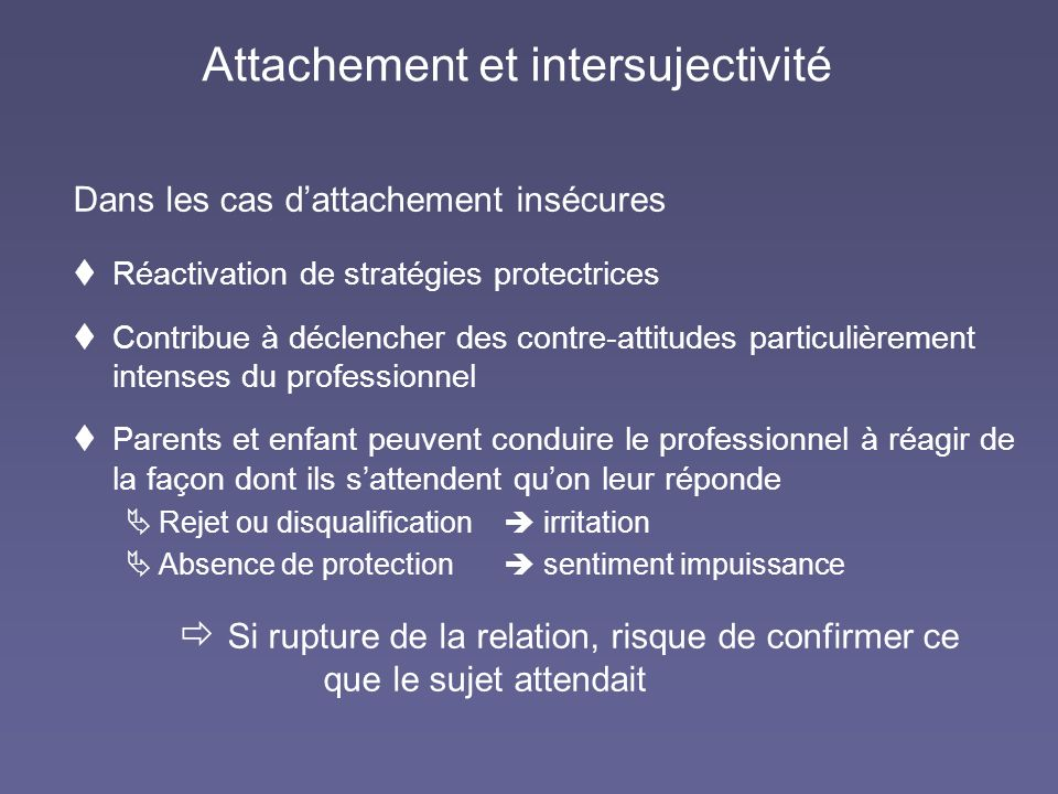 Attachement et intersujectivité