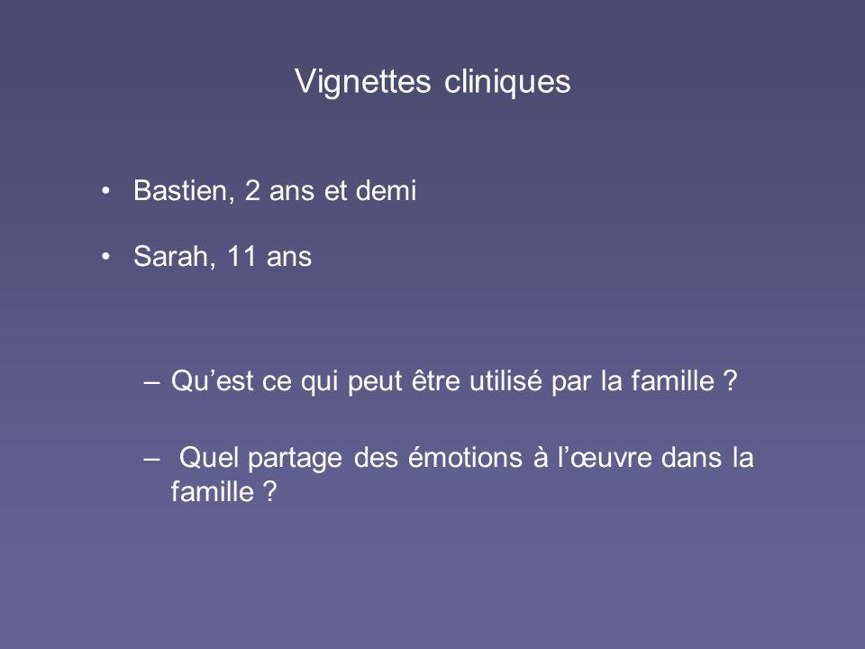 Vignettes cliniques Bastien, 2 ans et demi Sarah, 11 ans