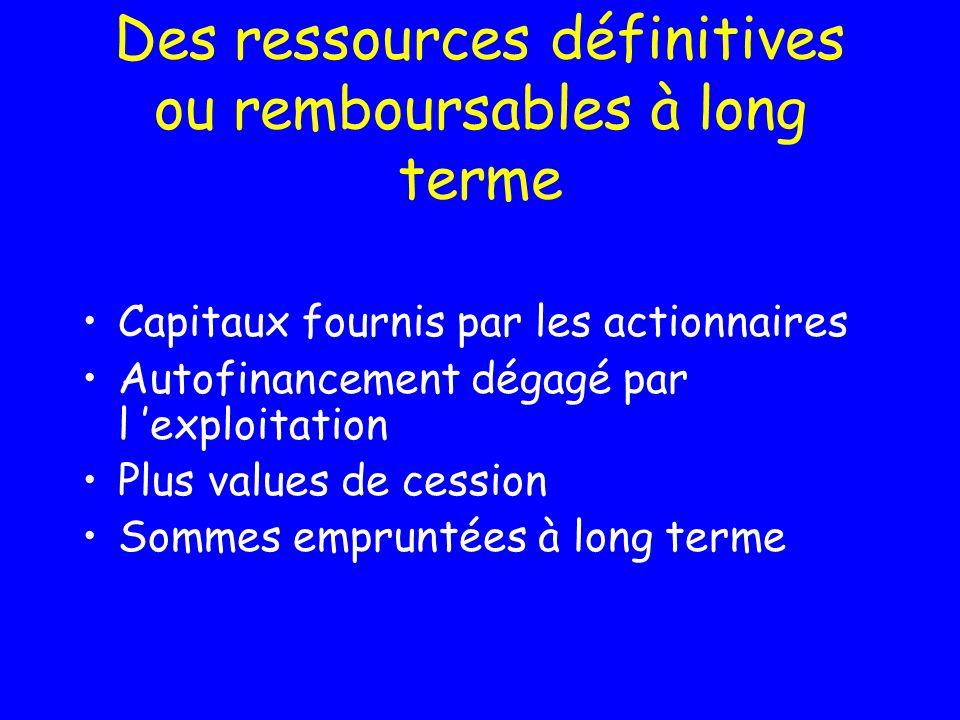 Des ressources définitives ou remboursables à long terme