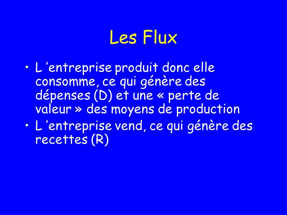 Les Flux L 'entreprise produit donc elle consomme, ce qui génère des dépenses (D) et une « perte de valeur » des moyens de production.