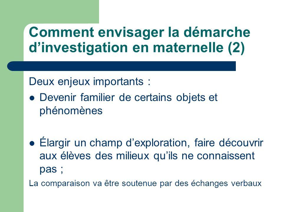 Comment envisager la démarche d'investigation en maternelle (2)