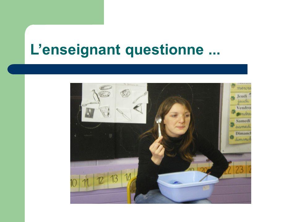 L'enseignant questionne ...