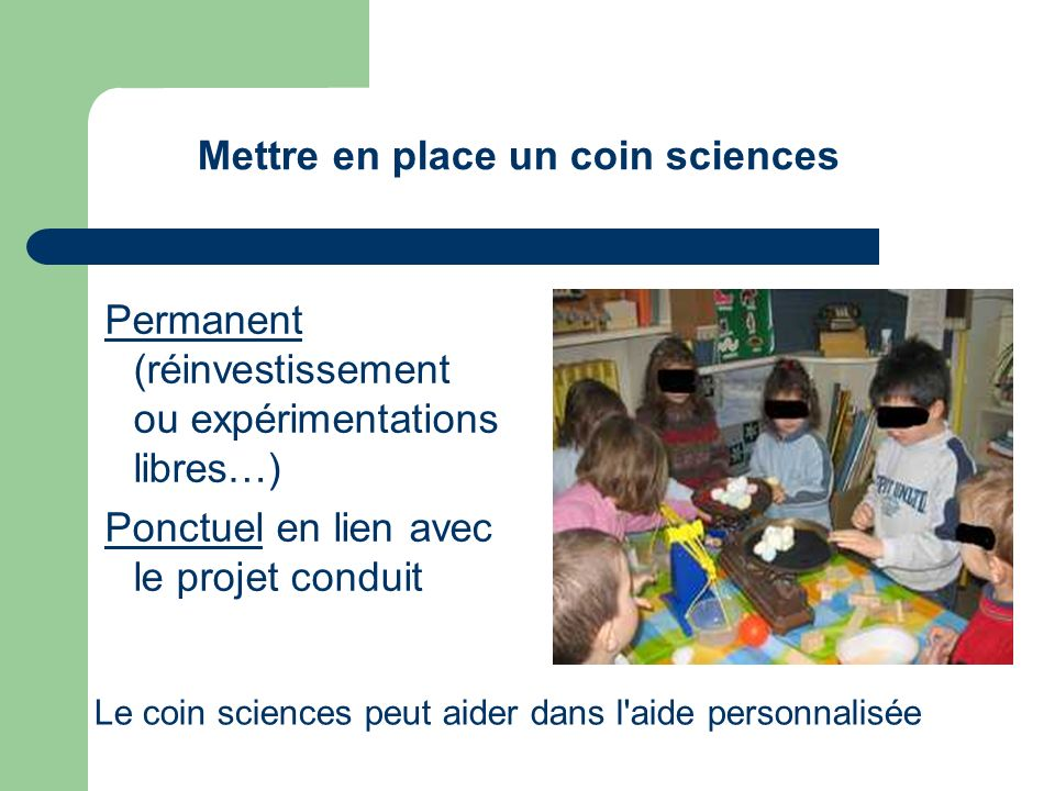 Mettre en place un coin sciences