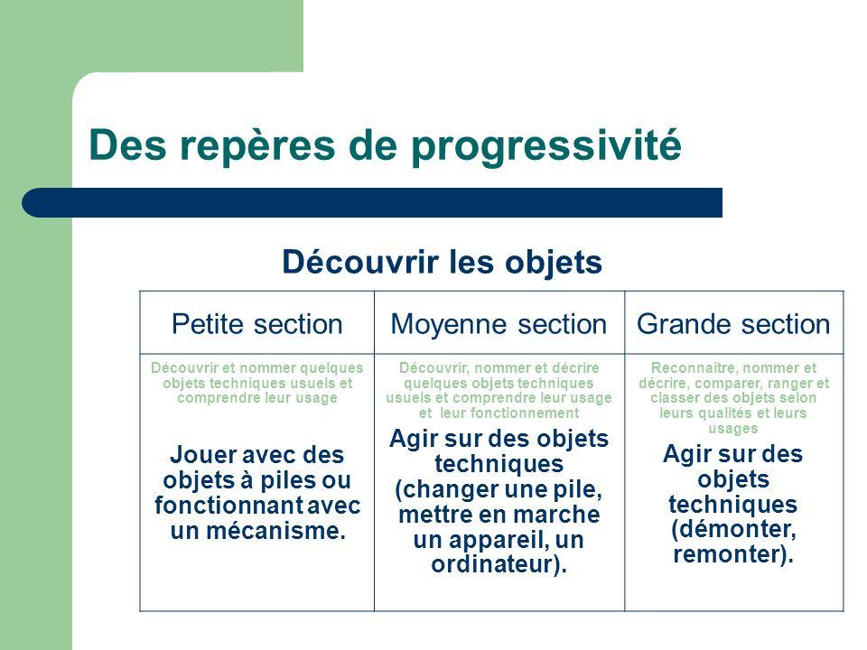 Des repères de progressivité