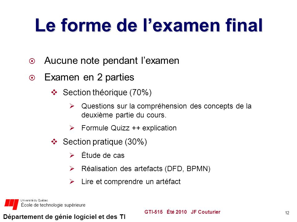 Le forme de l'examen final