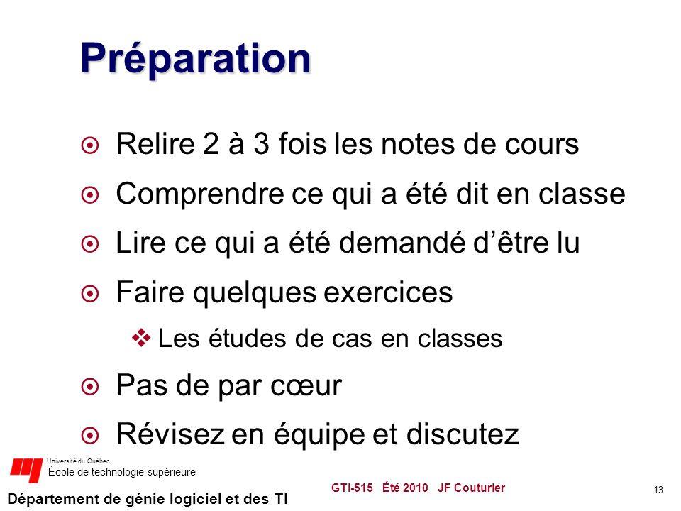 Préparation Relire 2 à 3 fois les notes de cours