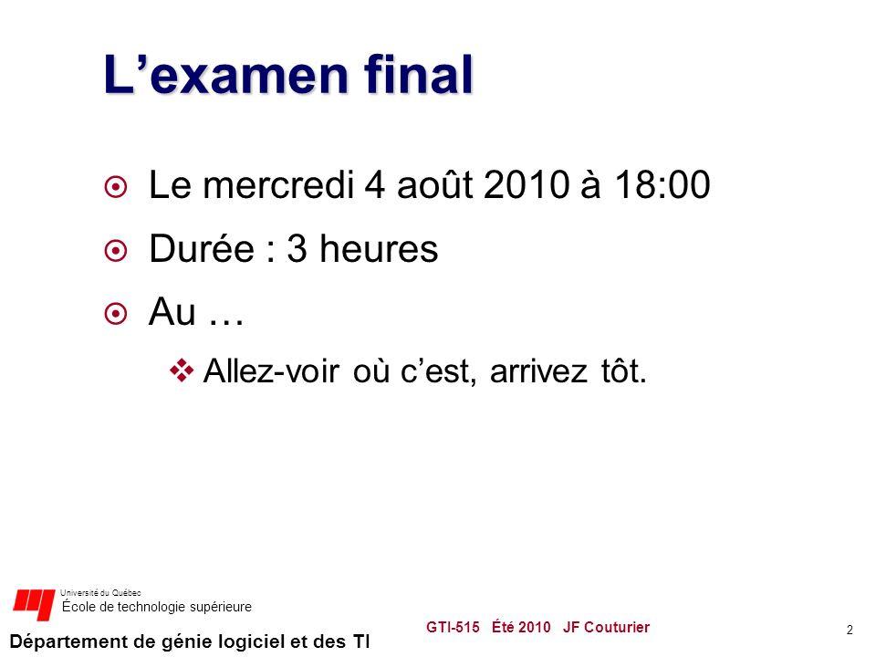L'examen final Le mercredi 4 août 2010 à 18:00 Durée : 3 heures Au …