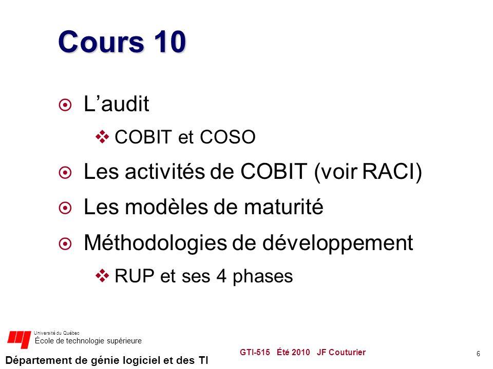 Cours 10 L'audit Les activités de COBIT (voir RACI)