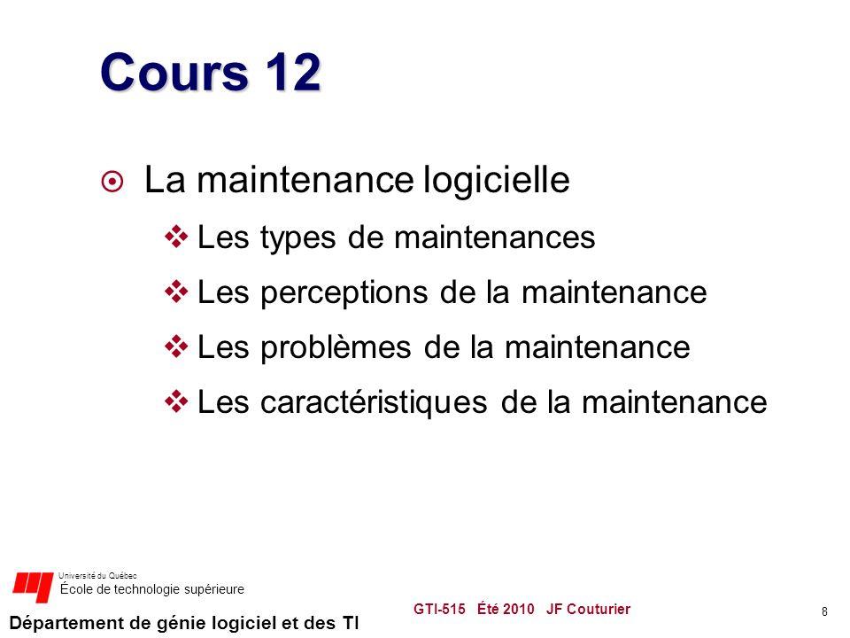 Cours 12 La maintenance logicielle Les types de maintenances