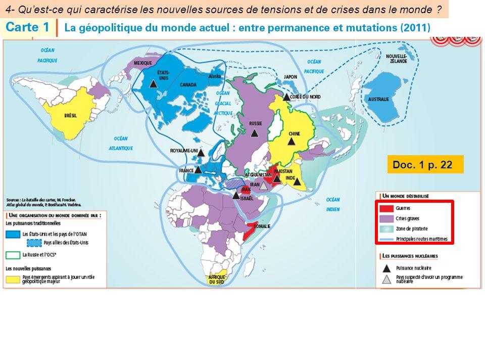 4- Qu'est-ce qui caractérise les nouvelles sources de tensions et de crises dans le monde