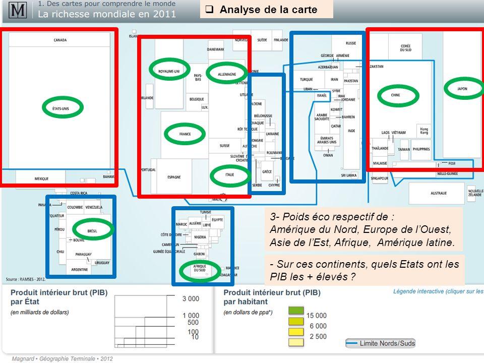 Analyse de la carte 3- Poids éco respectif de : Amérique du Nord, Europe de l'Ouest, Asie de l'Est, Afrique, Amérique latine.