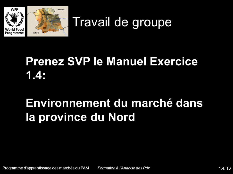 Travail de groupe Prenez SVP le Manuel Exercice 1.4: Environnement du marché dans la province du Nord.