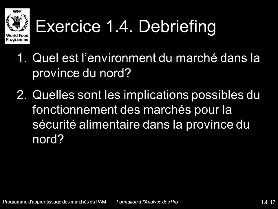 Exercice 1.4. Debriefing Quel est l'environment du marché dans la province du nord