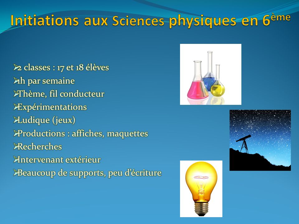 Initiations aux Sciences physiques en 6ème