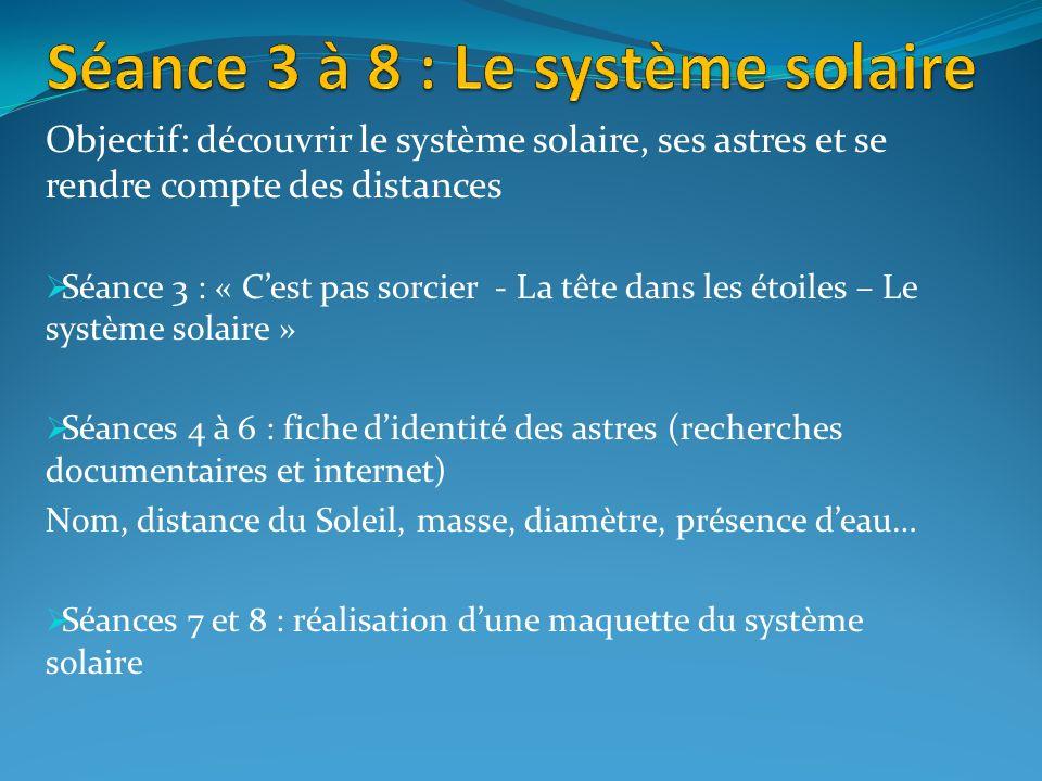 Séance 3 à 8 : Le système solaire