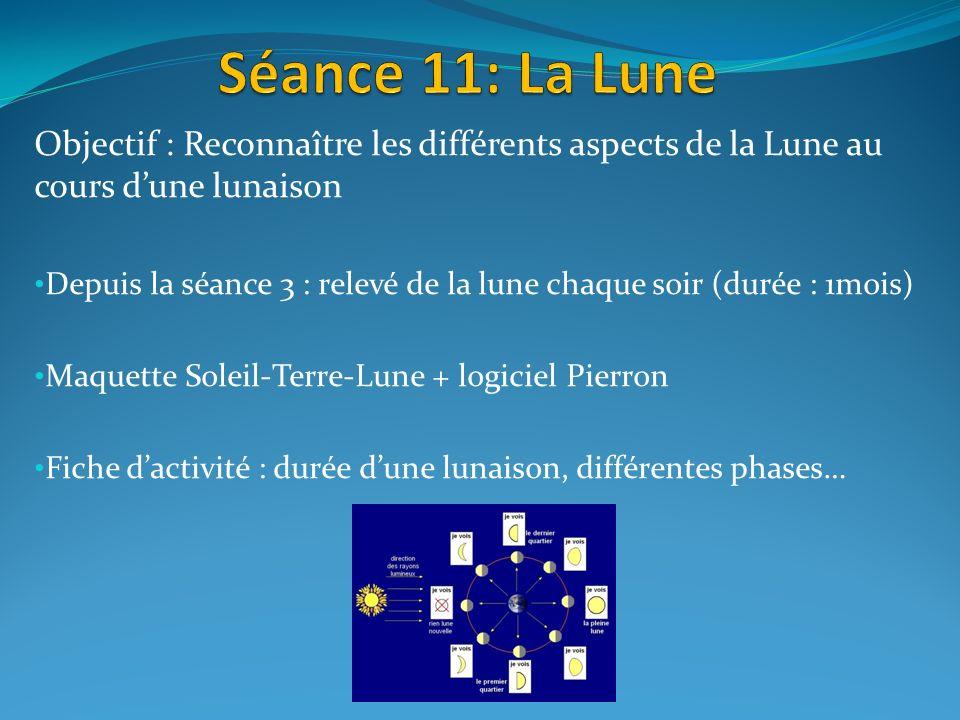 Séance 11: La Lune Objectif : Reconnaître les différents aspects de la Lune au cours d'une lunaison.