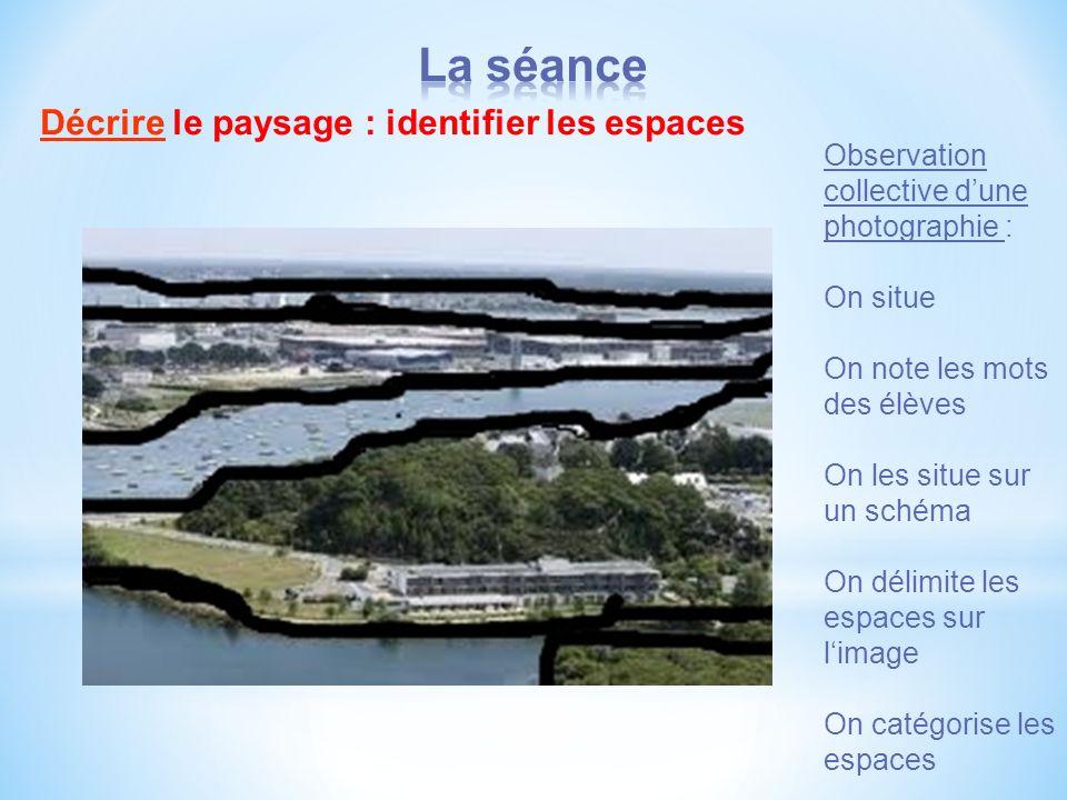 La séance Décrire le paysage : identifier les espaces