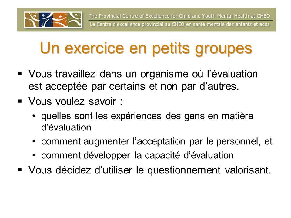 Un exercice en petits groupes