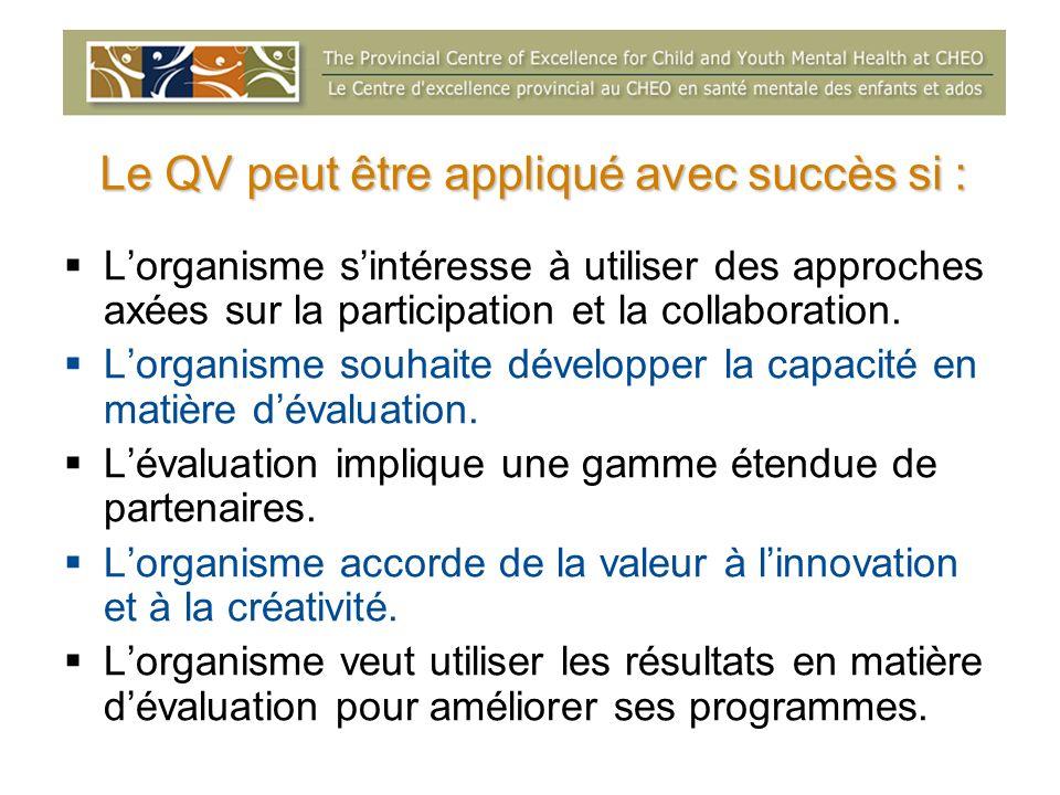 Le QV peut être appliqué avec succès si :