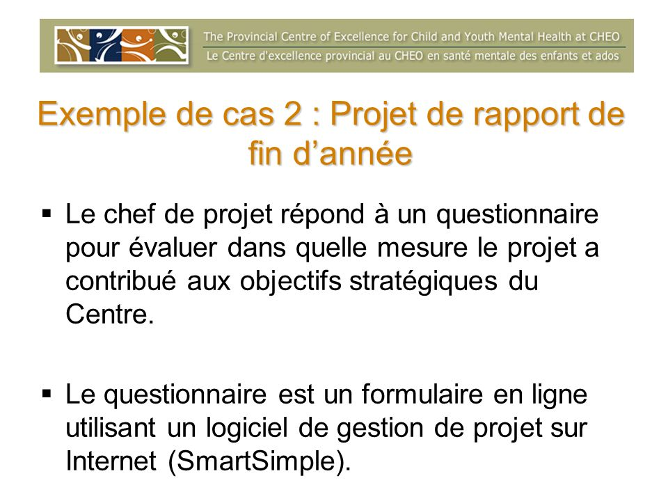 Exemple de cas 2 : Projet de rapport de fin d'année